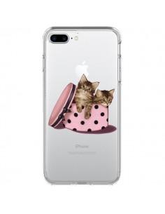 Coque Chaton Chat Kitten Boite Pois Transparente pour iPhone 7 Plus et 8 Plus - Maryline Cazenave