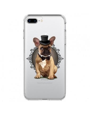 Coque Chien Bulldog Noeud Papillon Chapeau Transparente pour iPhone 7 Plus et 8 Plus - Maryline Cazenave