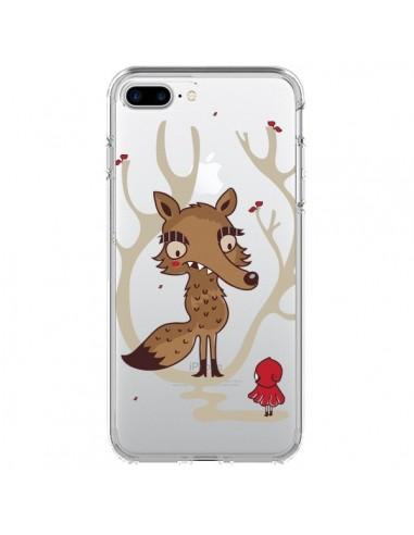 Coque iPhone 7 Plus et 8 Plus Le Petit Chaperon Rouge Loup Hello Big Wolf Transparente - Maria Jose Da Luz