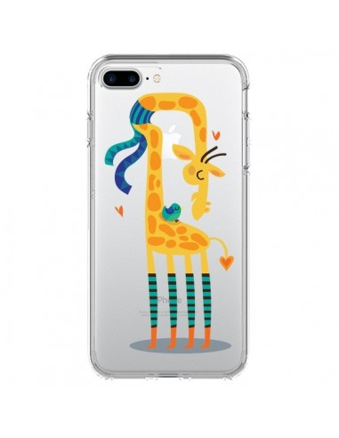 Coque L'oiseau et la Girafe Amour Love Transparente pour iPhone 7 Plus et 8 Plus - Maria Jose Da Luz