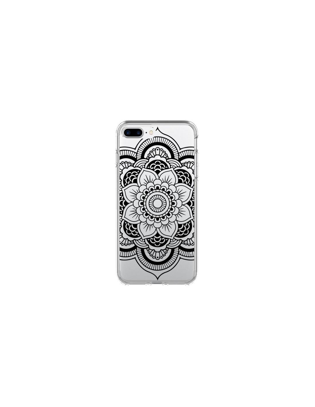 coque iphone 8 mandala plume noir silicone