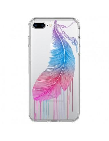 Coque iPhone 7 Plus et 8 Plus Plume Feather Arc en Ciel Transparente - Rachel Caldwell