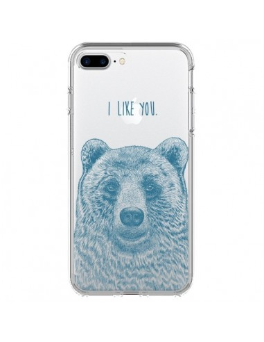 Coque iPhone 7 Plus et 8 Plus I Love You Bear Ours Ourson Transparente - Rachel Caldwell