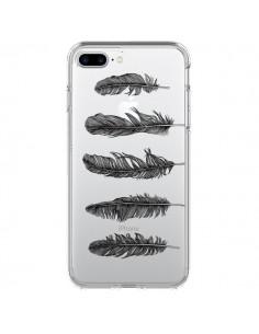 Coque Plume Feather Noir Transparente pour iPhone 7 Plus - Rachel Caldwell