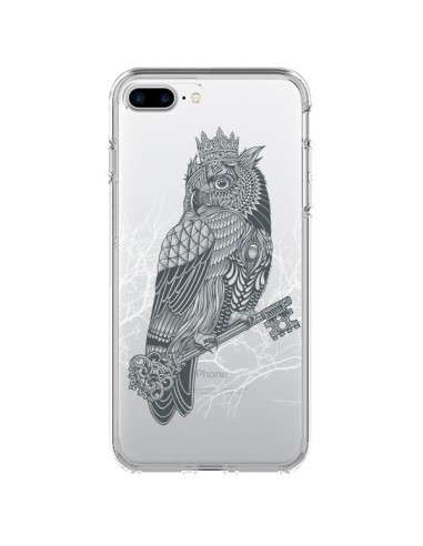 Coque iPhone 7 Plus et 8 Plus Owl King Chouette Hibou Roi Transparente - Rachel Caldwell