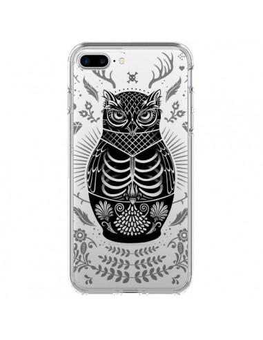 Coque iPhone 7 Plus et 8 Plus Owl Chouette Hibou Squelette Transparente - Rachel Caldwell