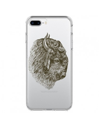 Coque Buffalo Bison Transparente pour iPhone 7 Plus et 8 Plus - Rachel Caldwell