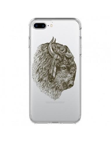 Coque iPhone 7 Plus et 8 Plus Buffalo Bison Transparente - Rachel Caldwell