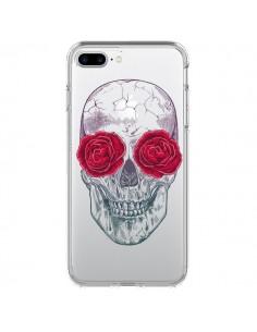 Coque Tête de Mort Rose Fleurs Transparente pour iPhone 7 Plus - Rachel Caldwell