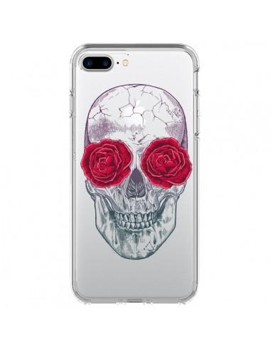 Coque iPhone 7 Plus et 8 Plus Tête de Mort Rose Fleurs Transparente - Rachel Caldwell