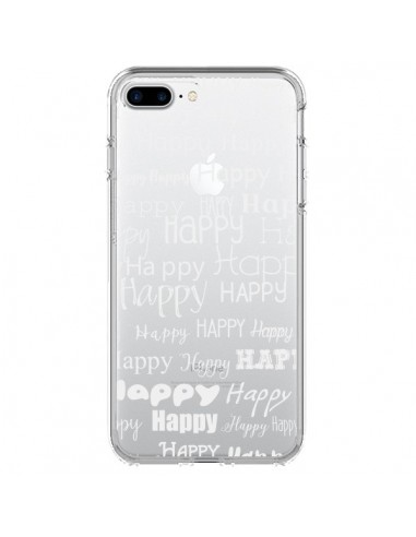 Coque iPhone 7 Plus et 8 Plus Happy Happy Blanc Transparente - R Delean