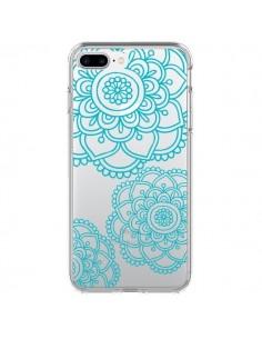 Coque Mandala Bleu Aqua Doodle Flower Transparente pour iPhone 7 Plus - Sylvia Cook