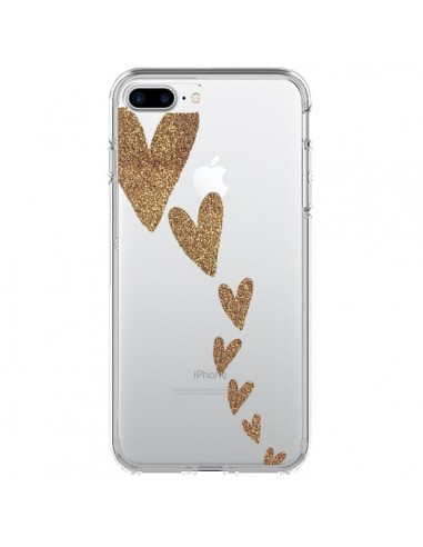 Coque Coeur Falling Gold Hearts Transparente pour iPhone 7 Plus et 8 Plus - Sylvia Cook