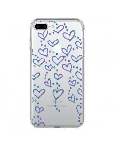 Coque Floating hearts coeurs flottants Transparente pour iPhone 7 Plus et 8 Plus - Sylvia Cook