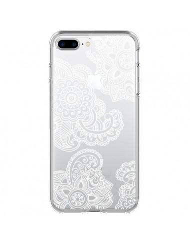 Coque iPhone 7 Plus et 8 Plus Lacey Paisley Mandala Blanc Fleur Transparente - Sylvia Cook