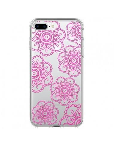 Coque iPhone 7 Plus et 8 Plus Pink Doodle Flower Mandala Rose Fleur Transparente - Sylvia Cook