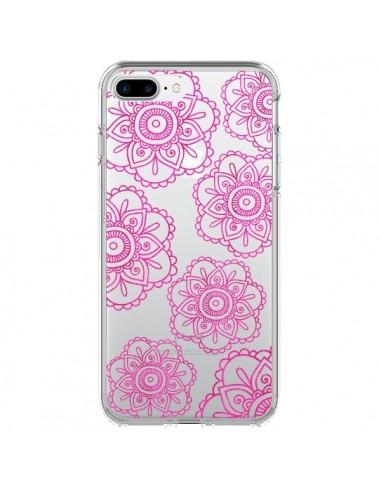 Coque Pink Doodle Flower Mandala Rose Fleur Transparente pour iPhone 7 Plus et 8 Plus - Sylvia Cook