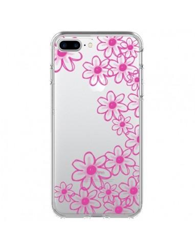 Coque iPhone 7 Plus et 8 Plus Pink Flowers Fleurs Roses Transparente - Sylvia Cook