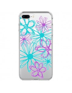 Coque Turquoise and Purple Flowers Fleurs Violettes Transparente pour iPhone 7 Plus - Sylvia Cook