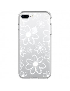 Coque Mandala Blanc White Flower Transparente pour iPhone 7 Plus et 8 Plus - Sylvia Cook