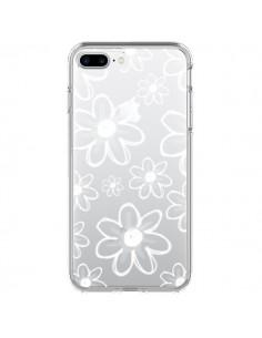 Coque Mandala Blanc White Flower Transparente pour iPhone 7 Plus - Sylvia Cook