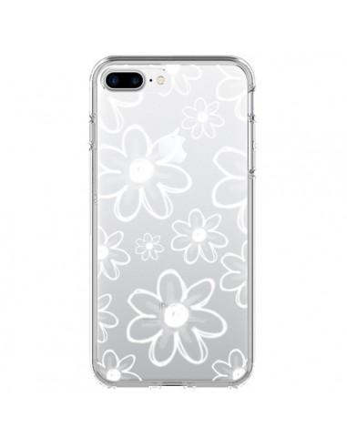 Coque iPhone 7 Plus et 8 Plus Mandala Blanc White Flower Transparente - Sylvia Cook