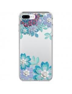 Coque Winter Flower Bleu, Fleurs d'Hiver Transparente pour iPhone 7 Plus et 8 Plus - Sylvia Cook