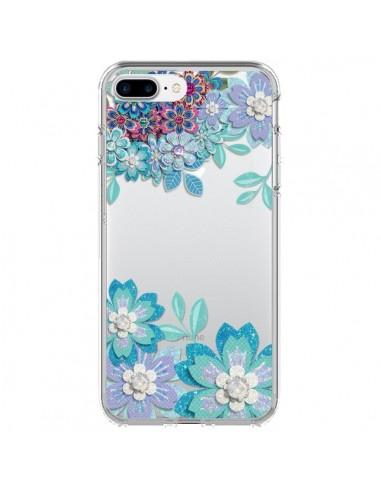 Coque Winter Flower Bleu, Fleurs d'Hiver Transparente pour iPhone 7 Plus - Sylvia Cook
