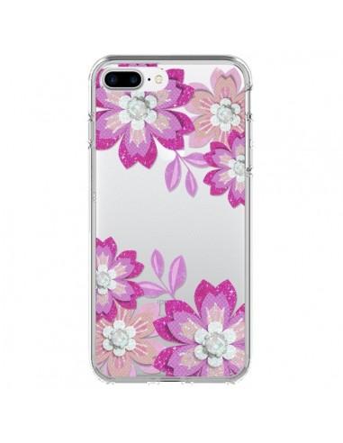 Coque iPhone 7 Plus et 8 Plus Winter Flower Rose, Fleurs d'Hiver Transparente - Sylvia Cook