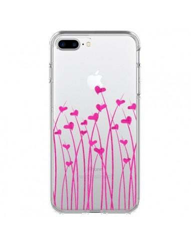 Coque iPhone 7 Plus et 8 Plus Love in Pink Amour Rose Fleur Transparente - Sylvia Cook