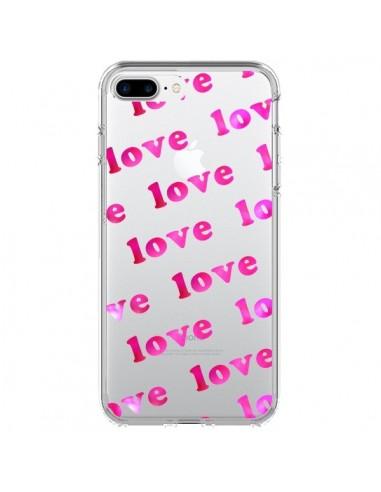 Coque iPhone 7 Plus et 8 Plus Pink Love Rose Transparente - Sylvia Cook