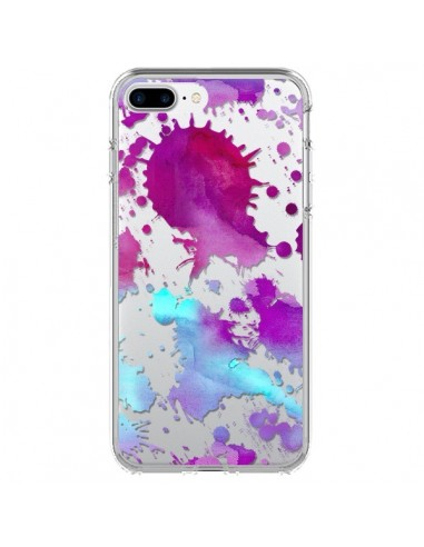 Coque Watercolor Splash Taches Bleu Violet Transparente pour iPhone 7 Plus - Sylvia Cook