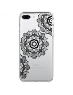 Coque Triple Mandala Noir Black Transparente pour iPhone 7 Plus - Sylvia Cook
