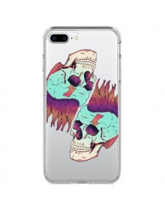Coque Tête de Mort Crane Punk Double Transparente pour iPhone 7 Plus et 8 Plus - Victor Vercesi