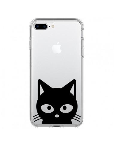 Coque iPhone 7 Plus et 8 Plus Tête Chat Noir Cat Transparente - Yohan B.