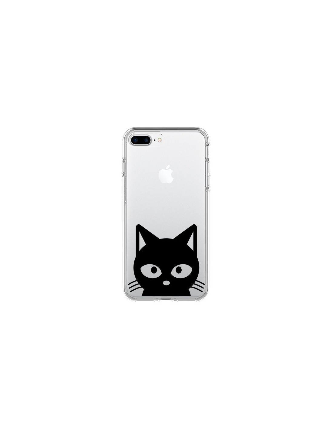 coque iphone 7 plus et 8 plus tete chat noir cat transparente yohan b