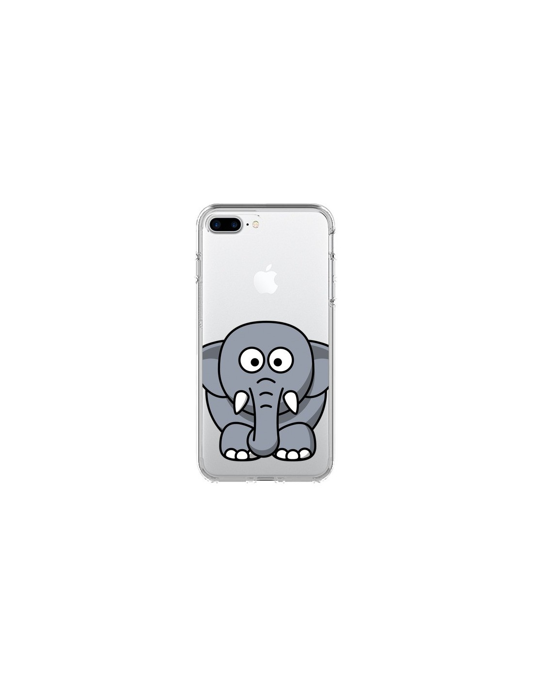 coque iphone 7 plus et 8 plus elephant animal transparente yohan b