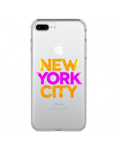 Coque New York City NYC Orange Rose Transparente pour iPhone 7 Plus et 8 Plus - Javier Martinez