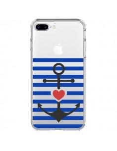 Coque Mariniere Ancre Marin Coeur Transparente pour iPhone 7 Plus et 8 Plus - Jonathan Perez