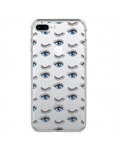 Coque Eyes Oeil Yeux Bleus Mosaïque Transparente pour iPhone 7 Plus - Elsa Lmb