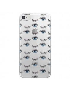 Coque Eyes Oeil Yeux Bleus Mosaïque Transparente pour iPhone 7 et 8 - Elsa Lmb