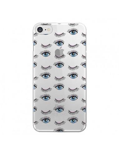 Coque Eyes Oeil Yeux Bleus Mosaïque Transparente pour iPhone 7 - Elsa Lmb