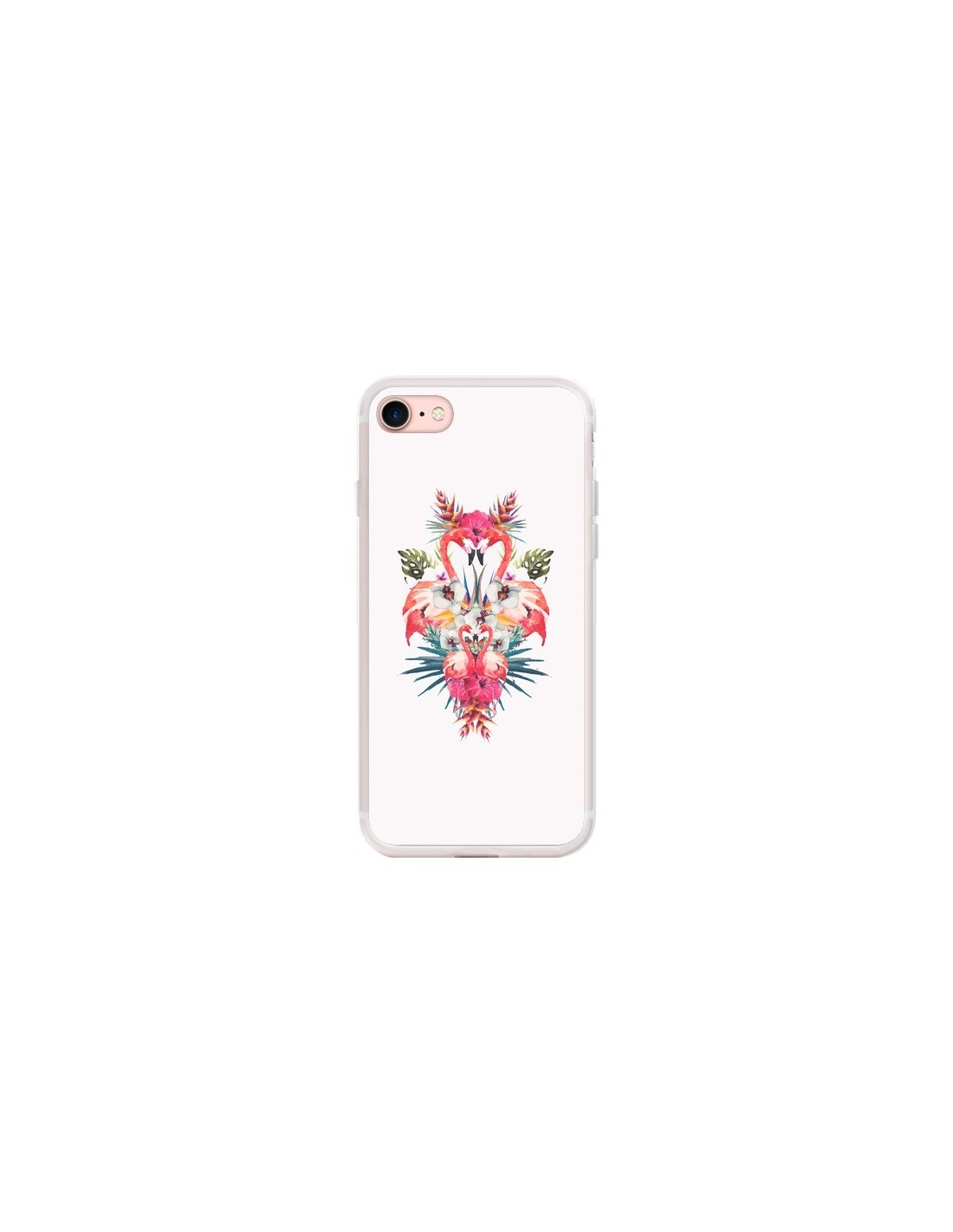 coque iphone 7 8 se 2020 tropicales flamingos tropical flamant rose summer ete eleaxart