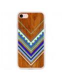 Coque Azteque Arbutus Blue Bois Aztec Tribal pour iPhone 7 - Jenny Mhairi