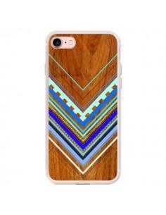 Coque iPhone 7/8 et SE 2020 Azteque Arbutus Blue Bois Aztec Tribal - Jenny Mhairi