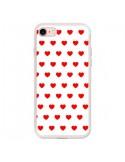 Coque iPhone 7 et 8 Coeurs Rouges Fond Blanc - Laetitia