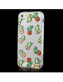 Coque Cactus Multiple Transparente en silicone semi-rigide TPU pour iPhone 5/5S et SE