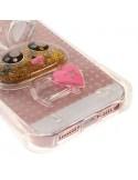 Coque iPhone 5/5S et SE Lapin en Relief avec Paillettes Transparente en silicone semi-rigide TPU