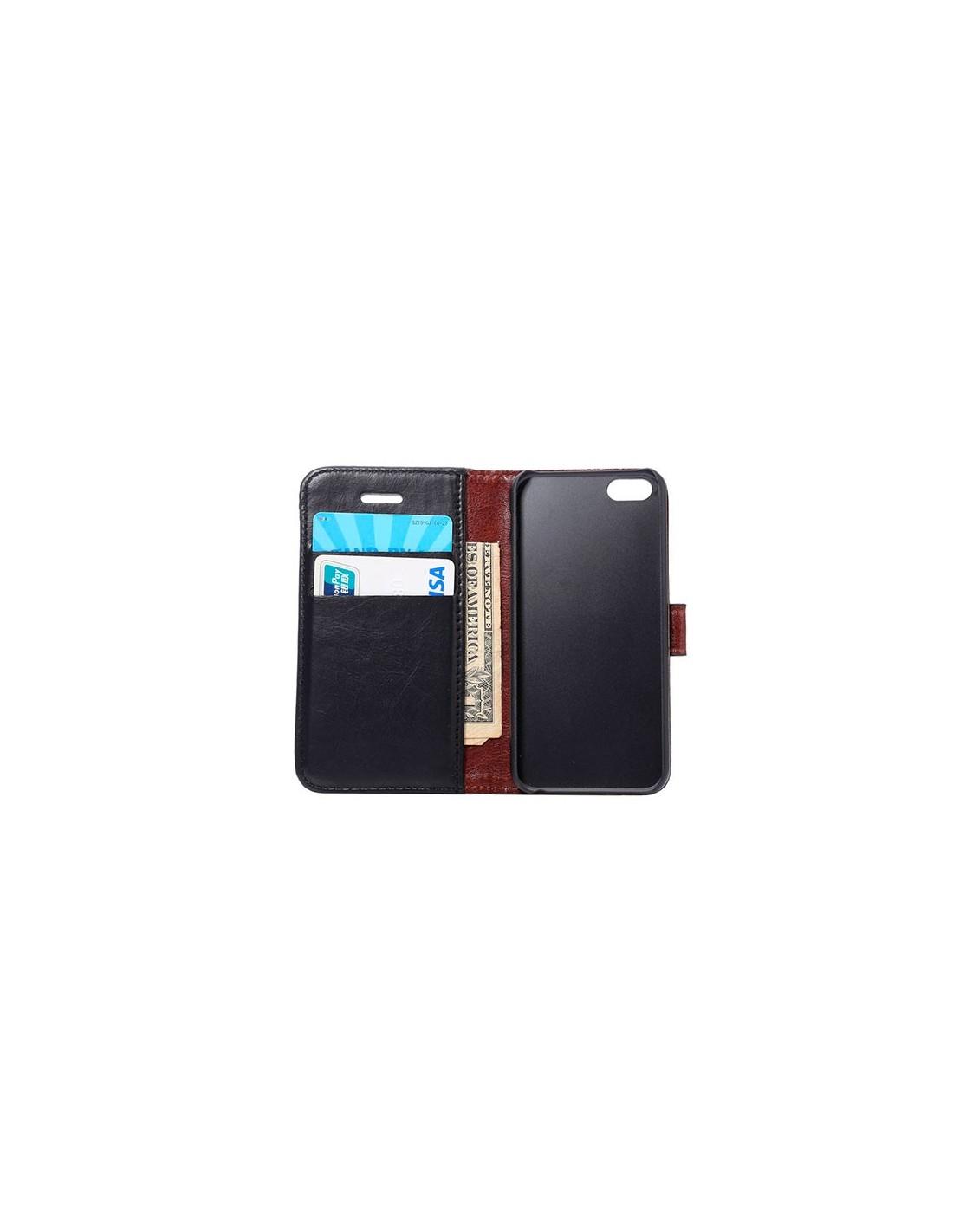 etui portefeuille simili cuir luxe pour iphone 5 5s et se. Black Bedroom Furniture Sets. Home Design Ideas