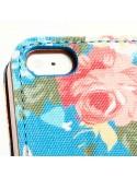 Etui Portefeuille en Jean à Fleurs pour iPhone 5/5S et SE
